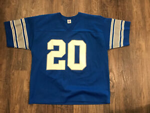 VINTAGE LOGO 7 Detroit Lions Barry Sanders #20 Blue Jersey Sz XL MADE IN USA New