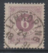More details for sweden - 1890, 6 ore mauve stamp - blue posthorn on back - f/u - sg 33a
