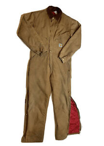 Carhartt X01 Brown Mens Coveralls Red Quilted Lining Size 40 Regular Snap Up Leg