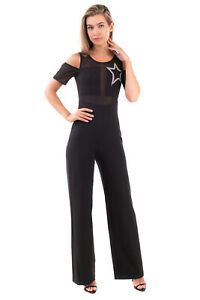 HEFTY Jumpsuit Size IT 40 / XS Tulle Insert Embellished Star Made in Italy