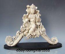 "17"" Chinese Dehua White Porcelain Lotus Leaf Guanyin Kwan-yin Bodhisattva Statue"