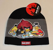 Angry Birds Boys Black Grey Stripe Acrylic Beanie Size 12 - 16 New
