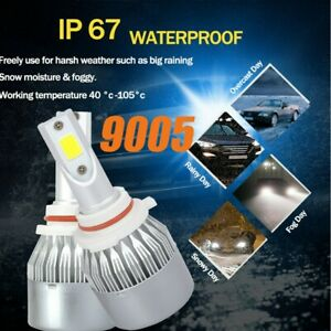 8000K 9005 9145 H10 HB3 COB LED Headlight High Low Beam Fog Light Blue Lamp US