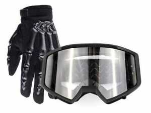 New Kids Motocross Combo Mat Black Goggles Gloves Offroad ATV Enduro Quad Youth