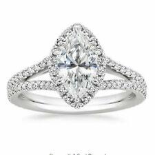 Engagement Ring 2.50 Ct D/vvs1 Round Brilliant Cut Diamond Halo 14k White Gold