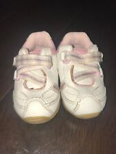 STRIDE RITE Toddler GIRLS SHOES SNEAKERS size 4 M WHITE PINK LEATHER Athletic