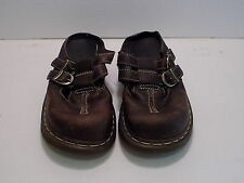 Women's Dr. Doc Martens Brown Leather Double Buckle Mules US Size 7