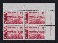 Canada Sc #465B (1967) $1 Centennial Pl. 1 UR Plate Block  DF DEX Mint VF NH