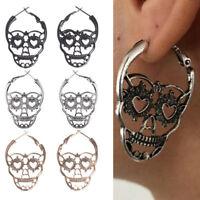 Punk Skull Ear Stud Earrings Vintage Skeleton Piercing Ear Drop Jewelry NTEO