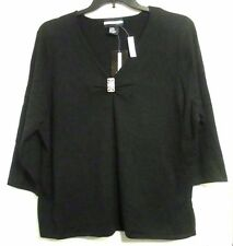 REQUIREMENTS womens plus size 2X BLACK KNIT SHIRT w/ faux diamond pin NWT #1896