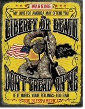 Liberty Or Death Don't Tread On Me Patriotic God Bless TIN SIGN Wall Art Poster