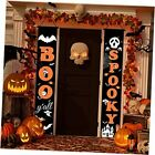Halloween Decorations Outdoor, Boo & Spooky Hanging Porch Signs Decor, Orange