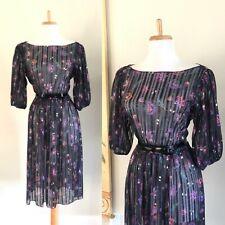 New listing Sexy Vtg 60s 70s Black Floral Polyester Secretary Disco Wiggle Shirt Dress