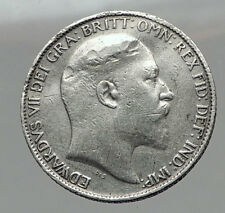 1902 Uk - Great Britain Silver Six Pence Coin Edward Vii United Kingdom i63052