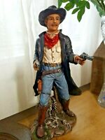 """Vtge - Western Cowboy w/Saddle Statue Figure Cold Cast Resin 13"""" Tall X 6"""" X 4"""""""