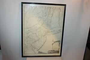 Antique New York New Jersey Pennsylvania Map Framed Harry Margary Headley Bros.