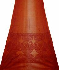 Indische Saree Orange Nylon Seide Blumen Vintage Sari Handwerks Stoff SI18747