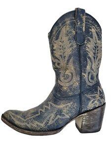 Lknw Old Gringo Blue Weathered Shorty Western Cowboy Boots Womens 6.5 7 38E 6Uk