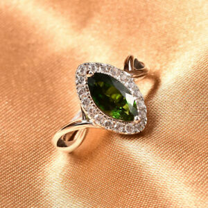 TJC Chrome Diopside Halo Ring 925 Sterling Silver White Zircon 5.52ct