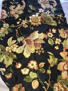 Croscill Home Pole Top Drapery NIP Susanna 82 x 84 Lined Black Floral Tiebacks