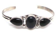 Cuff Bracelet - Phillip Yazzie Navajo Black Onyx Sterling Silver