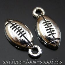 39977 Antique Silver Alloy Rugby Ball Pendants Charms Jewellery Finding 140Pcs