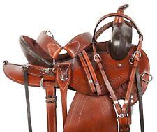 Pro Western Pleasure Trail Barrel Horse Leather Saddle Tack Set 15 16 17 18