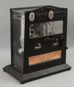 Antique 1930s Schermack Sanitary Postage Station Mail Stamp Dispenser Machine NR