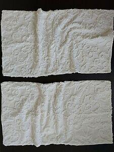 "Madison Park White Chenille Pillow Shams 2 King 100% Cotton 36x20"" EUC"