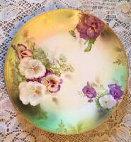 Beautiful Antique Porcelain Plate, Beyer & Bock Royal Rudolstadt Prussia Pansies