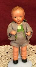 Adorable Small Vintage German Celluloid Doll with Original Clothes