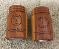Souvenir Wood Mason Jar Salt Pepper Set SHAKAMAK STATE PARK Jasonville Indiana