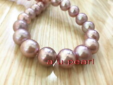 """AAAAA 17""""12-15mm Natural real ROUND south sea pink purples pearl necklace 14K"""