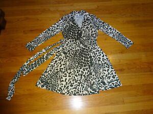 Diane Von Furstenberg DVF Silk Wrap Khaki Green/Beige Dress size US 14