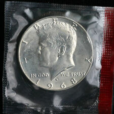 1968 D Kennedy Half Dollar Coin from US Mint Set BU 40% Silver Cello 50 Cents
