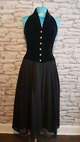 Vintage PRINCIPLES Black Velvet Vintage 80's Halter neck long Dress Size 10 uk