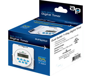 Autopilot Dual Outlet 7-Day Grounded Digital Programmable Timer 15A - 2 Pack
