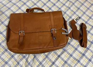Kenneth Cole Reaction Leather Dowel Rod Double Gusset Laptop Briefcase Cognac