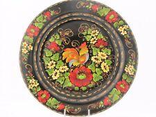 Assiette décorative murale D 22 bois peint main laqué signé artisanat ukrainien
