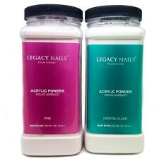 Legacy Nails Acrylic Powder Clear &/ Pink 1lbs Polvo Acrilico Free Priority Mail