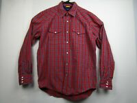 Mens Tommy Hilfiger Large Red Plaid Long Sleeve Pearl Snap Western Shirt
