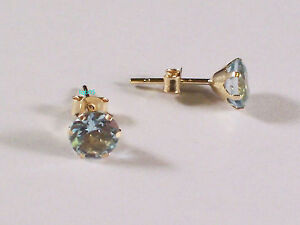 New Boxed Ladies 9ct Yellow Gold Blue Topaz Studs Earrings 6mm Hallmarked