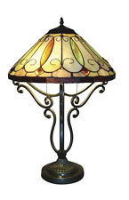 "Tiffany Style Stained Cut Handcrafted Arroyo Table Lamp 16"" Shade"