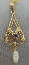 10K Gold Sapphire Lavaliere Pendant with Pearl (#1152)