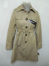 DKNY Womens Pea Coat Belt Trench Button Jacket Army L Tan Khaki Anti Water $245