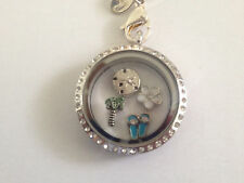 Relax on Tropical Beach w/ Palm Trees Floating Charms for Origami Owl Locket