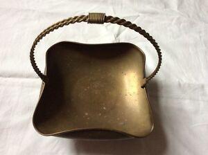 Vintage solid brass Egg basket key jewelry holder handle patina England