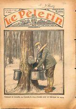Cueillette du sirop d'érable pour fabriquer du sucre au Canada 1934 ILLUSTRATION