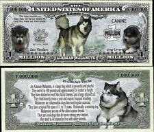 Alaskan Malamute Dog Million Dollar Play Funny Money Novelty Free Sleeve