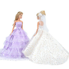 E-TING 2 Pcs Doll Clothes Wedding Dress Evening Party Gown For Barbie Dolls S